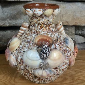 Seashell Terra Cotta Vase Boho Decor